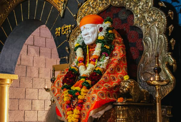 Sai Baba statue in India, on retreat with Swami Shankarananda