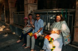Yogi Sri sitting with Lilavati and Rabia at the Vajreshwari Temple